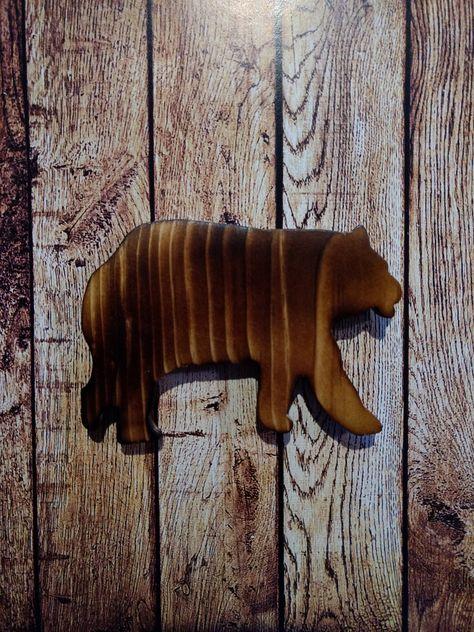 Kitchen Magnet Wood Bear Rustic