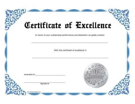 excellence certificate free printable allfreeprintable templates