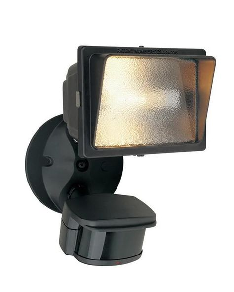 One Light Halogen Motion Detector 240 Degree Flood Light In