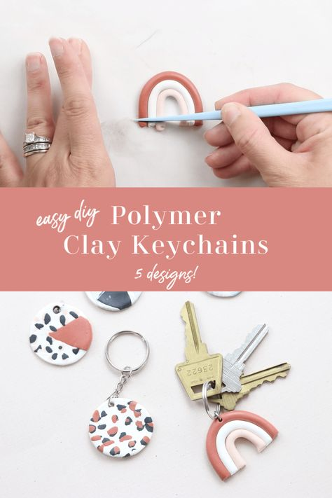 clay keychain In this polymer clay tutorial, I am sharing with you 5 keychain designs. These polymer clay keychains are simple and fun to make. Diy Clay Earrings, Polymer Clay Necklace, Polymer Clay Charms, Handmade Polymer Clay, Polymer Clay Kunst, Polymer Clay Projects, Clay Crafts, Clay Keychain, Keychain Ideas