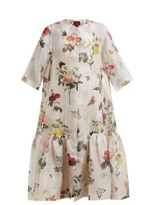 Biyan Botanical-print silk organza coat