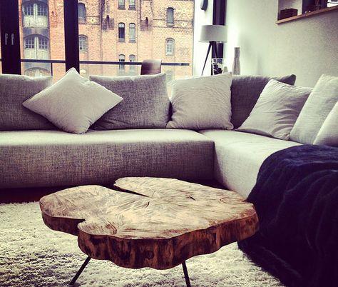 Couchtisch Holztisch massiv auf Maß, Baumscheibentisch, Wohnzimmertisch, Naturholzplatte, rustikal, Holz, Holzwerk-Hamburg