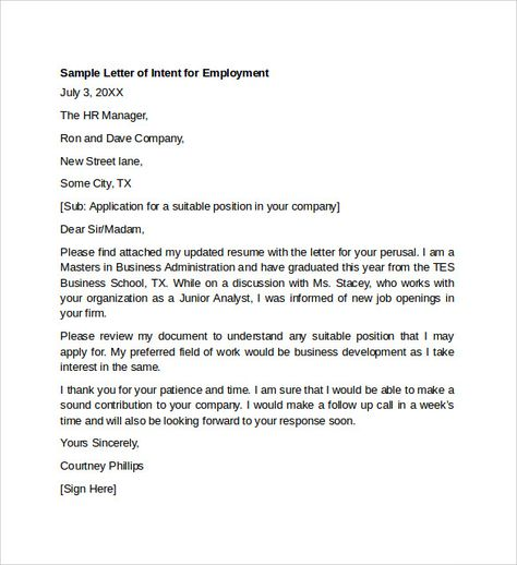 Sample Letter Intent For Employment Templates Download Free Simple