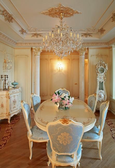 French Provincial furniture gives a highly inspired and very elegant European look to any room. There are some ideas to decorating with French Provincial furniture. Luxury Dining Room, Dining Room Design, Elegant Dining, Elegant Homes, Dining Room Decor, Elegant Home Decor, Home Decor, House Interior, Shabby Chic Homes