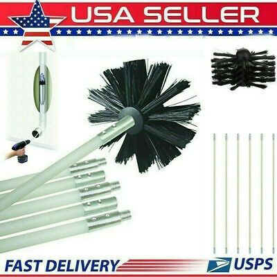 Dryer Duct Cleaning Vent Venting Lint Trap Removal Brush Vacuum Kit 16Feet Drill
