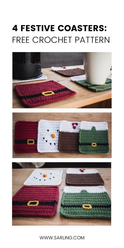 Crochet Christmas Coasters Free Pattern A free crochet pattern for four Christmas coaster designs Santa coat Elf jacket Snowman and Christmas Pudding The set has a fun and classic style Crochet Christmas Decorations, Crochet Christmas Ornaments, Crochet Decoration, Crochet Snowflakes, Christmas Bells, Christmas Angels, Christmas Poinsettia, Christmas Knitting, Crochet Ornament Patterns