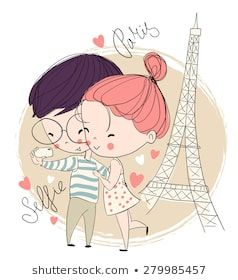 Young Girl And Boy Making Self Portrait Paris Love Card