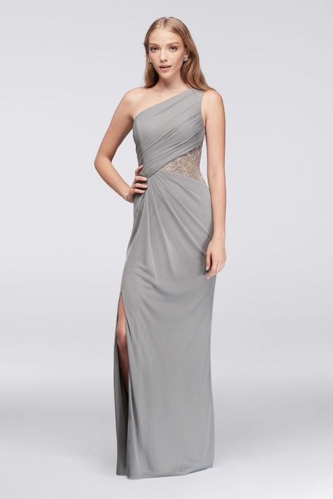 30d2176b9ed One-Shoulder Mesh Bridesmaid Dress with Metallic Lace Inset ...