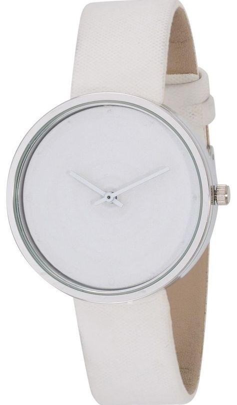 Swiscardin Men White Dial Leather Band Watch 11435Mw G