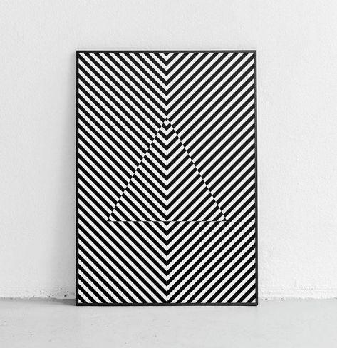 Modern Hypnotic Art, Black and White Art Print, Geometric Print, Black and White Abstract Art, Optical Illusion Art, Geometric