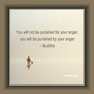 You will not be punished for your anger, you will be punished by your anger. ~Buddha