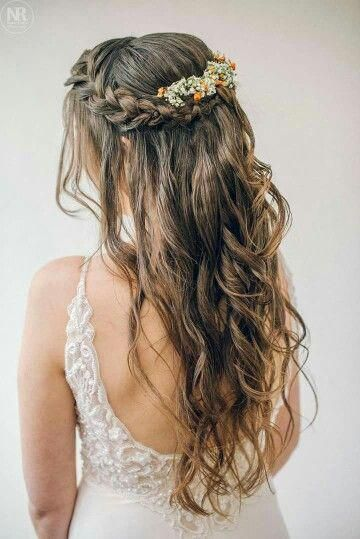 Garden Wedding Hairstyles For Guests Braided Crown Hairstyles Hair Styles Curly Wedding Hair