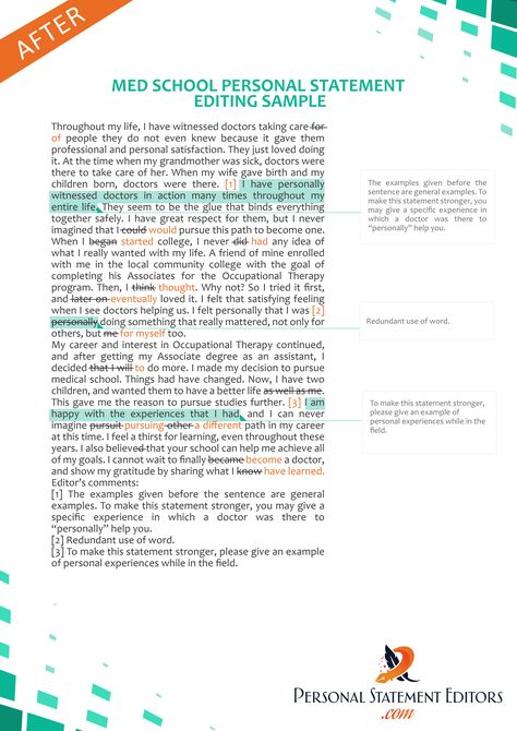 Med School Personal Statement Editing Service   www - personal statement sample