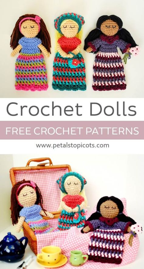 These crochet dolls make for a sweet little friend to stitch up for yourself or someone special ... Free crochet pattern! via @petalstopicots