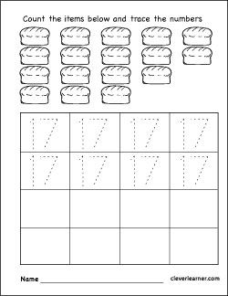 Number 17 Practice Sheets For Kids With Images Learning