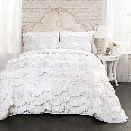 Kemmy Quilt White Set Bedding Sets Quilt Sets Ruffle Quilt