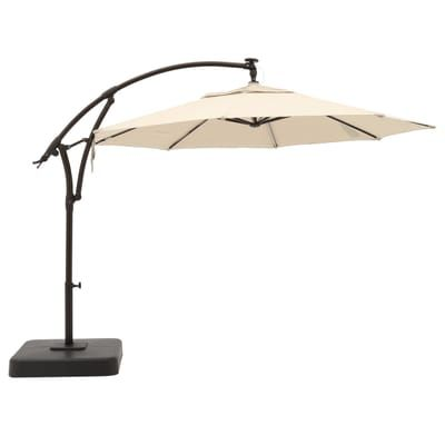 Hampton Bay 11 Ft Aluminum Cantilever Solar Led Offset Outdoor Patio Umbrella In Putty Tan Yjaf052 Pu Outdoor Patio Umbrellas Patio Umbrella Offset Patio Umbrella