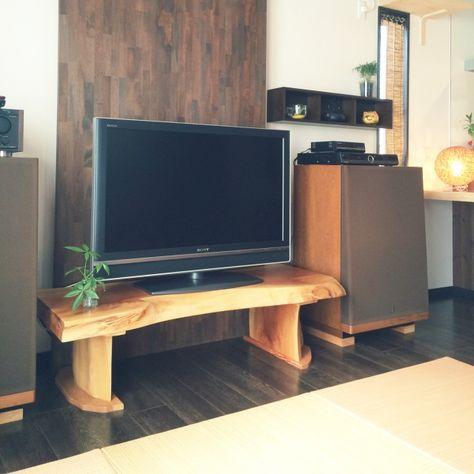 壁 天井 間接照明 置き畳 一枚板 テレビ台 などのインテリア実例