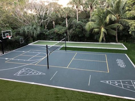 Presented by The Recreational Group - From outfitting yards with innovative VersaCourt Multi-Sport Game Courts, to integrating proven solutions from Volleyball Court Backyard, Backyard Sports, Outdoor Basketball Court, Backyard Patio, Backyard Ideas, Custom Basketball, Girls Basketball, Girls Softball, Volleyball Players