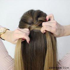 How to: Dutch Braid (step by step) on Luxy Hair Blog #Braidedforshorthair # upside down dutch Braids