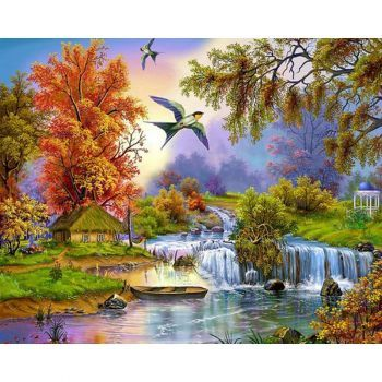 Beautiful Scenery Swallow Diy Diamond Painting 169 Pieces Scenery Paintings Landscape Paintings Cross Paintings