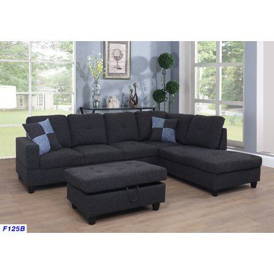 Ebern Designs Mendoza 103 5 Right Hand Facing Sectional With Ottoman Furniture Sectional Sofa Sectional