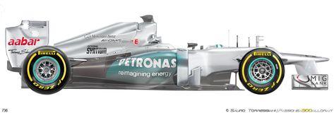 Mercedes F1 W03, 2012 год – одна победа Команда – Mercedes AMG Petronas F1 Team, мотор – Mercedes FO 108Z V8 2398cc, шины – Pirelli. Нико Росберг стал автором первой победы после возвращения Серебряных стрел. Это случилось в Китае. Нико стартовал с поула, а Михаэль рядом с ним с первого ряда. Это мог быть и первый победный дубль, но на 12 круге Шумахер сошел из-за крепления колеса. Могла быть и вторая победа, но в Монако семикратного чемпиона оштрафовали за столкновение с соперником ...