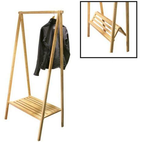 Clothes Rack Bedroom Portable Folding Clothes Rack Wooden