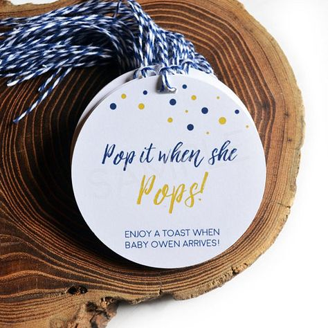 Navy and Gold Baby Shower Tags, Pop it when she POPS, Champagne Baby Shower Favor, Personalized Gift