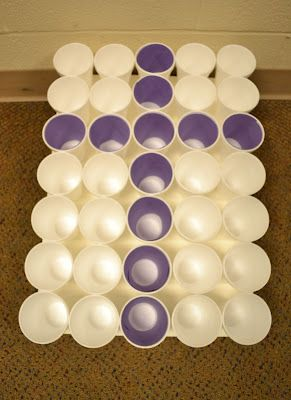 Plastic Easter egg toss into a purple cross.  Plus other Easter games