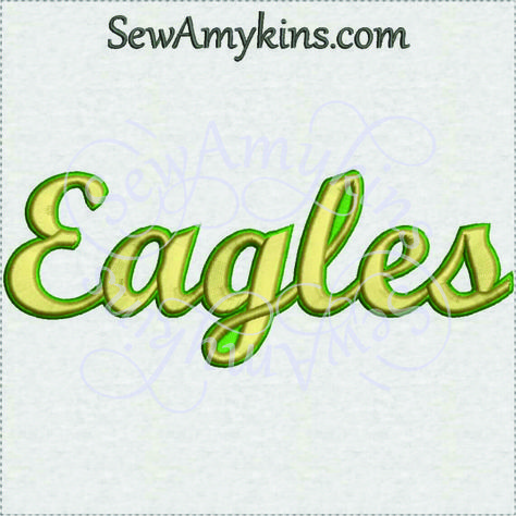 SewAmykins - Eagles team name machine embroidery design 3 sizes school mascot, $3.00 (http://www.sewamykins.com/eagles-team-name-machine-embroidery-design-3-sizes-school-mascot/)