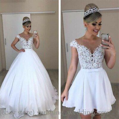 Long Short Wedding Dresses Detachable Skirt Elegant Lace Applique Bridal Gowns In 2020 Wedding Dress Detachable Skirt Ball Gown Wedding Dress Detachable Wedding Dress
