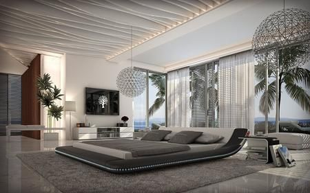 Boston Collection Sf 851 K Bw 84 Modern King Bed With Led Lights Low Profile And Leatherette Modern Luxury Bedroom House Design Modern House Design