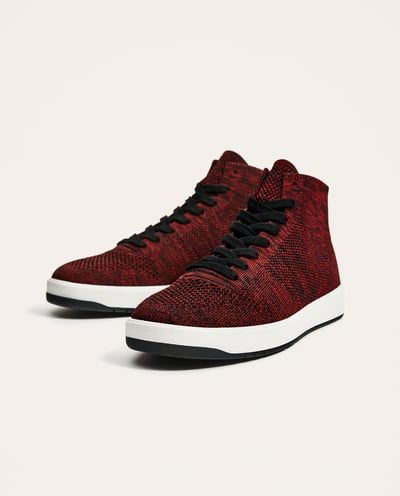RED TECHNICAL FABRIC HIGH TOP SNEAKERS View all SHOES MAN