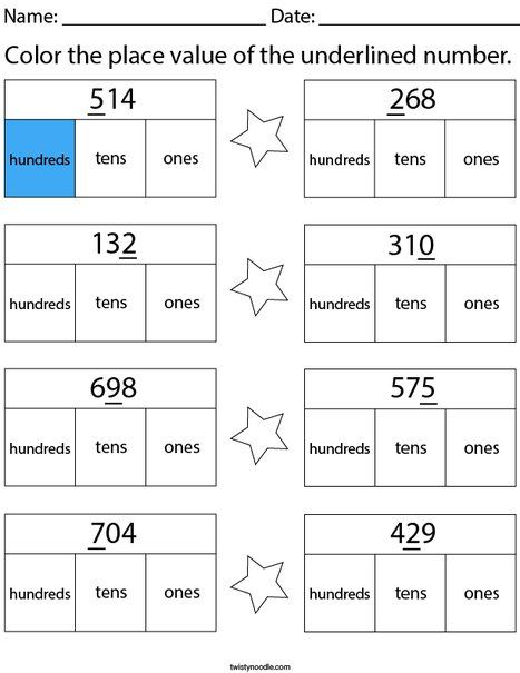 Color The Place Value Of The Underlined Number 3 Digit Math Worksheet Twisty Noodle Place Value Worksheets Place Values Place Value Worksheet Simple place value worksheets