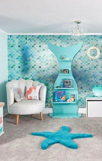 Do You Wanna Be A Mermaid Many Of Our Pieces Suit Grown Up Rooms As Well As Our Children S Rooms Mermaid Room Decor Ocean Themed Bedroom Beach Themed Bedroom