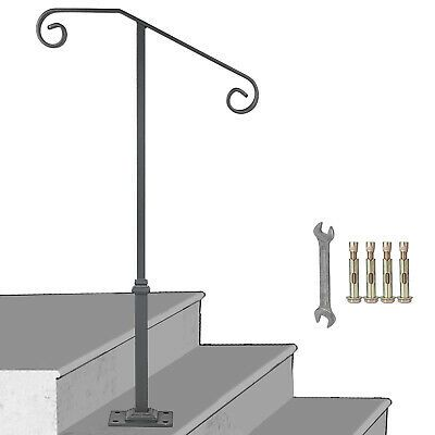 Advertisement Single Post Handrail Wrought Iron 1 2 Steps Gray Base Kits For Paver Steps In 2020 Paver Steps Handrail Wrought Iron