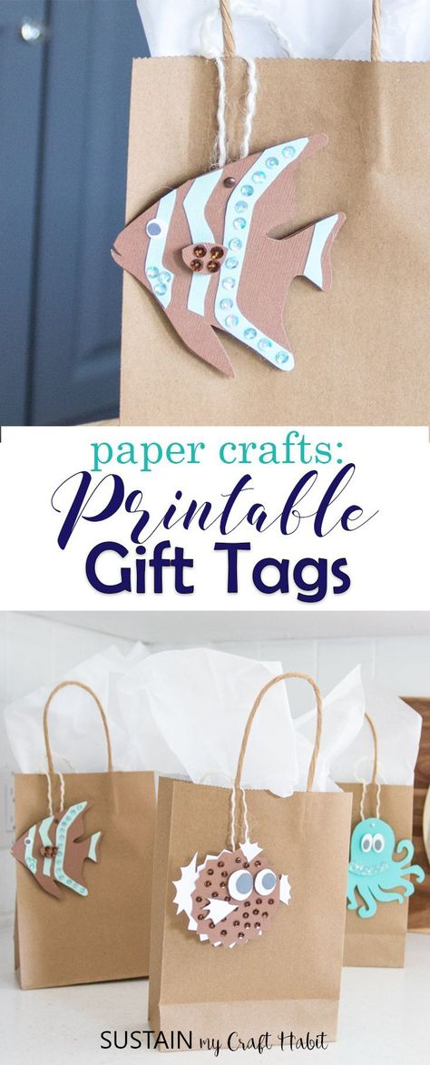 Add a special handmade touch to any gift with these beach-themed printable gift tags. Great for any gift-giving occasion! #gifttags #beachwedding #coastalwedding #cottagewarming #giftidea #papercrafts #underthesea #mermaidparty