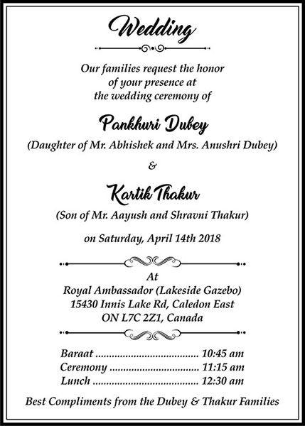 Hindu Wedding Cards Wordings Hindu Wedding Invitation Matter Hindu Wedding Invitations Hindu Wedding Cards Wedding Card Wordings