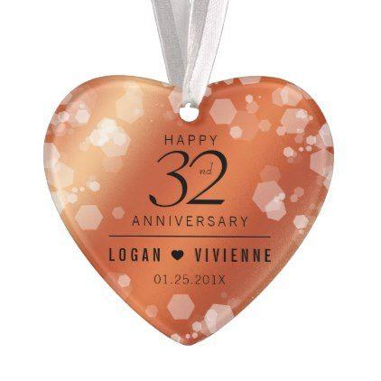 Elegant 32nd Bronze Wedding Anniversary Ornament Zazzle Com Bronze Wedding Anniversary Bronze Wedding Wedding Anniversary Celebration
