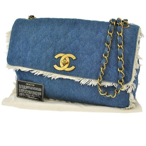 b9096cec0495 Pre-owned Chanel Quilted Cc Logos Chain Denim Vintage Rk09011 Blue... (6  900 AUD) ❤ liked on Polyvore featuring bags, handbags, clutches, blue, blue  purse, ...