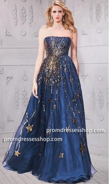 Undeniably Chic Amazing Gold Star Embellished Navy Tulle Ball Gown 2019 Prom Dreses Ball Gown Formal Evening Pegeant Dress Ball Gowns Navy And Gold Dress Gowns