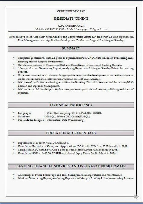 bad resume examples sample template example ofexcellent curriculum resume format for freshers bca - Resume Format For Freshers Bca