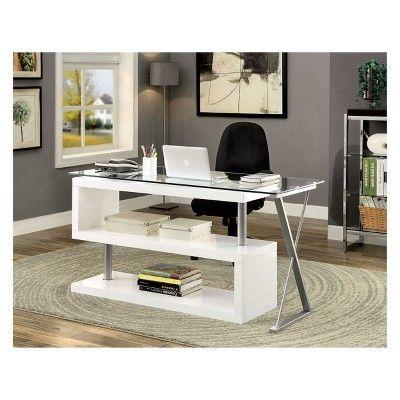 Nagini Swivel Computer Desk Glossy White Iohomes Cheap Office