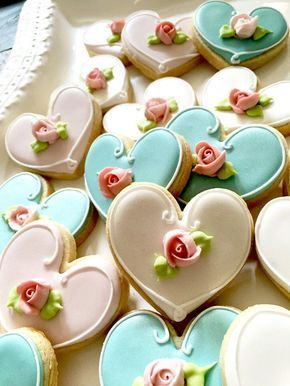 24 Pcs. Assorted Color Heart Cookie Favor Wedding by MarinoldCakes More
