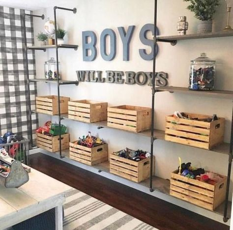 If I had boys, this space from would serve as major room inspo! From the buffalo check wallpaper to the metal & wood… If I had boys, this space from M+B Design would serve as major room inspo! From the buffalo check wallpaper to the metal & wood… Playroom Design, Kid Playroom, Playroom Decor, Kids Bedroom Boys, Boys Shared Bedroom Ideas, Big Boy Bedrooms, Little Boy Bedroom Ideas, Boys Room Design, Kids Playroom Storage