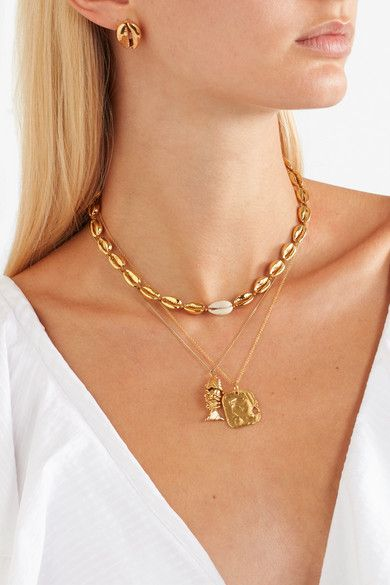69d4cdb51ef Tohum - Small Puka Gold-plated And Shell Necklace in 2019 | ACCESSORIES | Shell  necklaces, Fashion jewelry necklaces, Jewelry