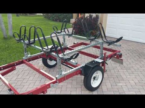 4 kayak trailer made from the Harbor Freight folding trailer. Kayak frame made from Superstrut & Unistrut. Kayak Trailer, Off Road Camper Trailer, Trailer Diy, Trailer Build, Camper Trailers, Hauling Trailers, Homemade Trailer, Kayak Fishing Gear, Kayaking Gear