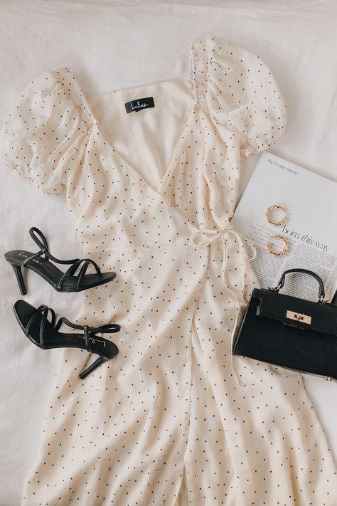 Well Spotted Cream and Black Polka Dot Wrap Midi Dress