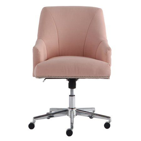 Serta Style Leighton Home Office Chair Blush Pink Twill Fabric Walmart Com Home Office Chairs Pink Office Chair Office Chair